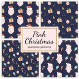 Set of christmas patterns on dark blue background. royalty free stock photo