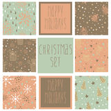 Set of christmas patterns. (seamlessly tiling). Can be use for Christmas card design. 2014. Eps 10 Stock Photos
