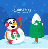 Background of snowman with christmas tree. Set of christmas patterns seamlessly tiling. Can be used for Christmas card design , Christmas family holidays. Merry Stock Photography