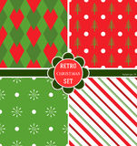 A set of Christmas patterns, 4 species for their Christmas holidays, vector image. A bright graphic design. Funny wrapping paper. Royalty Free Stock Photo