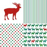 Set of Christmas patterns. Stripes and polka dot Stock Photo
