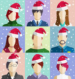 Set of Christmas People Faces in Hat in Snowfall Flat Icons Royalty Free Stock Photo