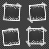 Set of Christmas photo frame with shadow. Template photo frames with snowflakes for Christmas photos. Set of Christmas photo frame with shadow. Photo frames vector illustration