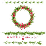 Set of christmas pine twigs and holiday decorations Royalty Free Stock Images