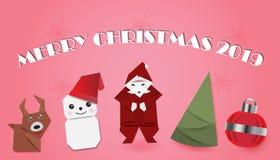 Set of Christmas on pink background vector illustration