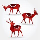 Set of christmas polygonal reindeers,  Stock Images