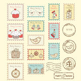Set of christmas post stamps. On yellow background Royalty Free Stock Photography