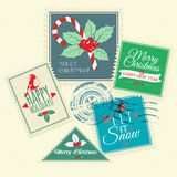 Set of Christmas postal stamps Stock Photo