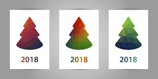 Set of christmas postcards with minimalistic polygonal fir tree with colorful geometric texture and 2018 numbers. Set of christmas postcards with minimalistic stock illustration
