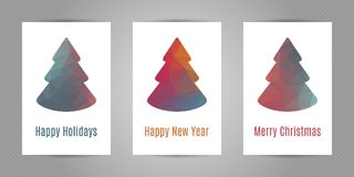 Set of christmas postcards with minimalistic polygonal fir tree with geometric texture. Set of christmas postcards with minimalistic polygonal fir tree with vector illustration
