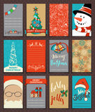 Set of 12 Christmas poster and card templates. Vector hand-drawn illustration. Can be used for festive scrapbooking, invitations and congratulations. There is Stock Photo