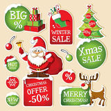 Set of Christmas price tags Stock Photos
