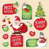 Set of Christmas price tags Stock Images