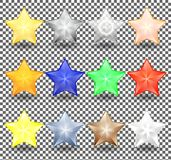 Set of Christmas realistic stars of different colors. New year decoration of bright, metallic and transparent color. Vector illustration Stock Image