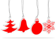 Set christmas red element Stock Photography
