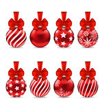 Set Christmas Red Glassy Balls with Bow Royalty Free Stock Images