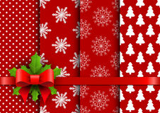 Set christmas red seamless vector backgrounds Stock Photo