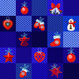Set of Christmas red toys on a blue background. Set of Christmas red toys on a blue squared background vector illustration