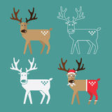 Set of Christmas Reindeer in flat design. Royalty Free Stock Photo