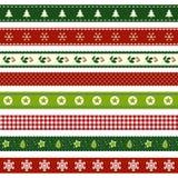 Set of Christmas ribbon patterns Stock Photography