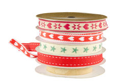 Set of Christmas ribbons patterns. With hearts and stars Stock Images