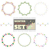 Set of 6 Christmas round frames. Includes six pattern brushes Stock Photos
