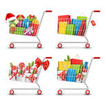 Set of Christmas Sale Colorful Shopping Carts with Gift Boxes an. D Bags  on White Background Stock Image
