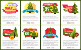 Set of Christmas Sale Hot Price 50 Off Posters. Vector illustration with cute New Year trees, festive toys, bright ribbons, ad messages push-buttons Vector Illustration