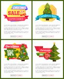 Set of Christmas Sale Hot Price 50 Off Posters. Vector illustration with cute New Year trees, festive toys, bright ribbons, ad messages push-buttons Royalty Free Illustration
