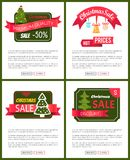 Set of Christmas Sale Hot Price 50 Off Posters. Vector illustration with cute New Year trees, festive toys, bright ribbons, ad messages push-buttons Stock Illustration