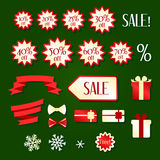 Set of Christmas sale icons Royalty Free Stock Photo