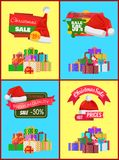 Set of Christmas Sale Promo Stickers Hats Labels. Set of Christmas sale promo stickers with hats, advertisement text on ribbon and piles of packed presents Stock Images