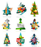 Set of Christmas sale or promotion price tags, New. Year tree with labels and your message. Vector illustration Stock Images
