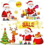 Set Christmas SALE with Santa Claus Royalty Free Stock Image