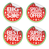 Set of Christmas sale stickers Royalty Free Stock Photo