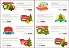 Set of Christmas Sale Super Choice Half Cost Cards. Vector illustration with multicolored stickers, text sample, New Year trees, isolated on white Royalty Free Stock Photography