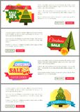 Set of Christmas Sale Super Choice Half Cost Cards. Vector illustration with multicolored stickers, text sample, New Year trees, isolated on white Royalty Free Stock Images