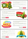 Set of Christmas Sale Super Choice Half Cost Cards. Vector illustration with multicolored stickers, text sample, New Year trees, isolated on white Royalty Free Stock Photo