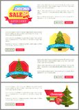 Set of Christmas Sale Super Choice Half Cost Cards. Vector illustration with multicolored stickers, text sample, New Year trees, isolated on white Stock Photo