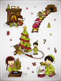 Set of christmas scene with boy and girl.vector illustration Stock Image