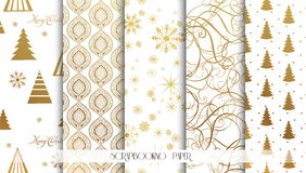 Set of Christmas Seamless backgrounds. Gold pattern. Vector. Set of Christmas Seamless backgrounds Royalty Free Stock Photo