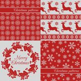 Set of Christmas seamless backgrounds, red Stock Images