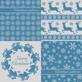 Set of Christmas seamless backgrounds, red Stock Photography