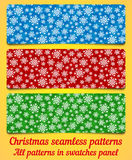 Set of Christmas seamless pattern with snowflakes Stock Image