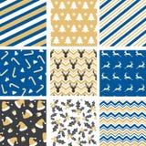 Set Christmas seamless pattern. Vector illustration Royalty Free Stock Photo