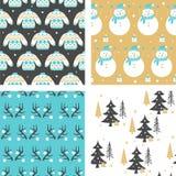 Set Christmas seamless pattern. Vector illustration Royalty Free Stock Photos