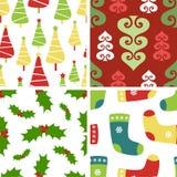 Set of christmas seamless patterns royalty free stock photo