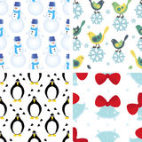 Set of christmas seamless patterns Stock Photos