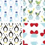 Set of christmas seamless patterns stock photos