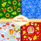 Set of Christmas seamless patterns. Backgrounds with symbols holiday and icons  family celebration elements. Winter. Set of Christmas seamless patterns Royalty Free Stock Photos
